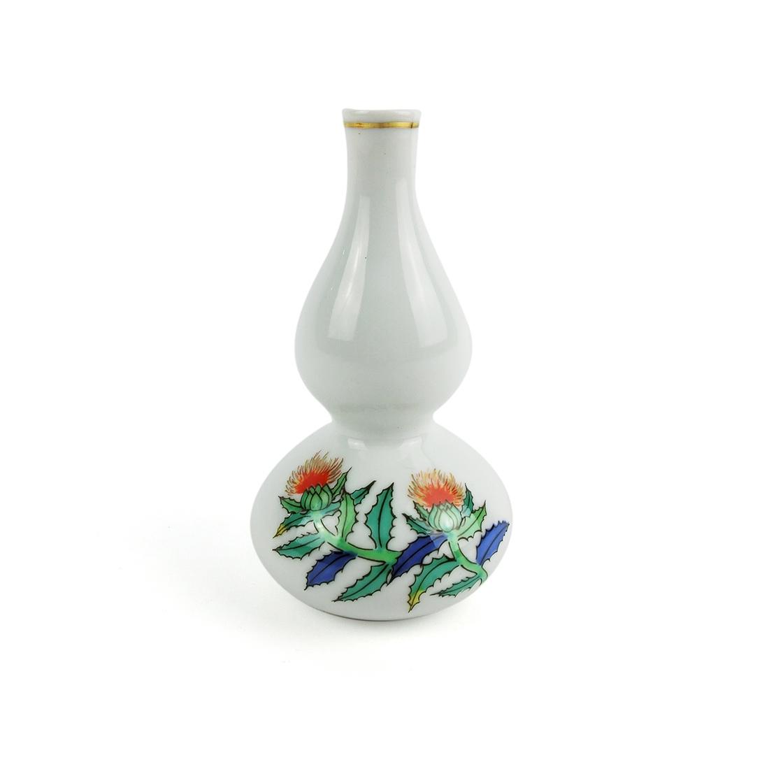 Hộp 5 Bình Sake Sứ Vẽ Tay Viền Vàng Có Triện - Nhật - 13.5 cm - 48952