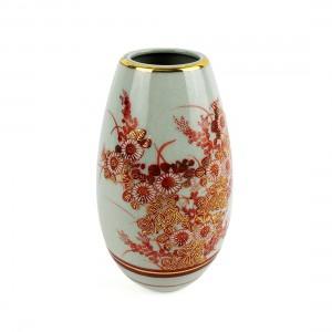 Bình Hoa Gốm Men Rạn Vẽ Vàng Kutani - Nhật - 10 x 19 cm - 51963