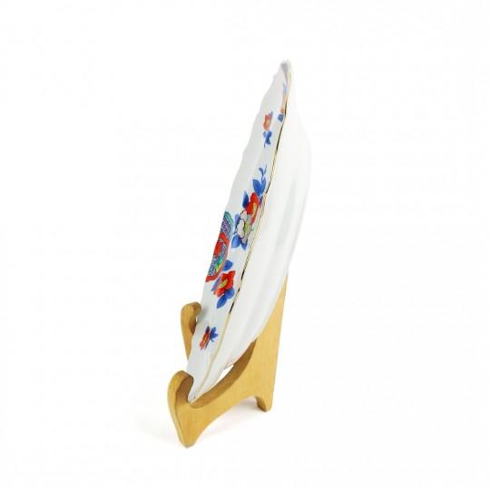 Dĩa Sứ Hoa Ngũ Sắc Viền Vàng Có Triện – Nhật – 26 x 2.5 cm – 41806