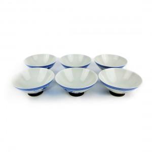 Bộ 6 Chén Sứ Men Lam - Nhật -  11.5 x 5 cm - 431025