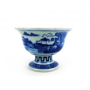 Chén Sứ Chân Cao Men Lam - Nhật - 15 x 10 cm - 431058