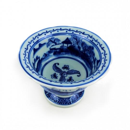 Chén Sứ Chân Cao Men Lam – Nhật – 15 x 10 cm – 431058