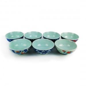 Bộ 7 Chén Sứ Xưa Arita Hijiriyama - Nhật -11.5 x 5.5 cm -431026