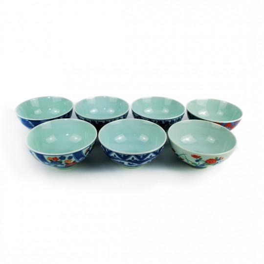 Bộ 7 Chén Sứ Xưa Arita Hijiriyama – Nhật -11.5 x 5.5 cm -431026