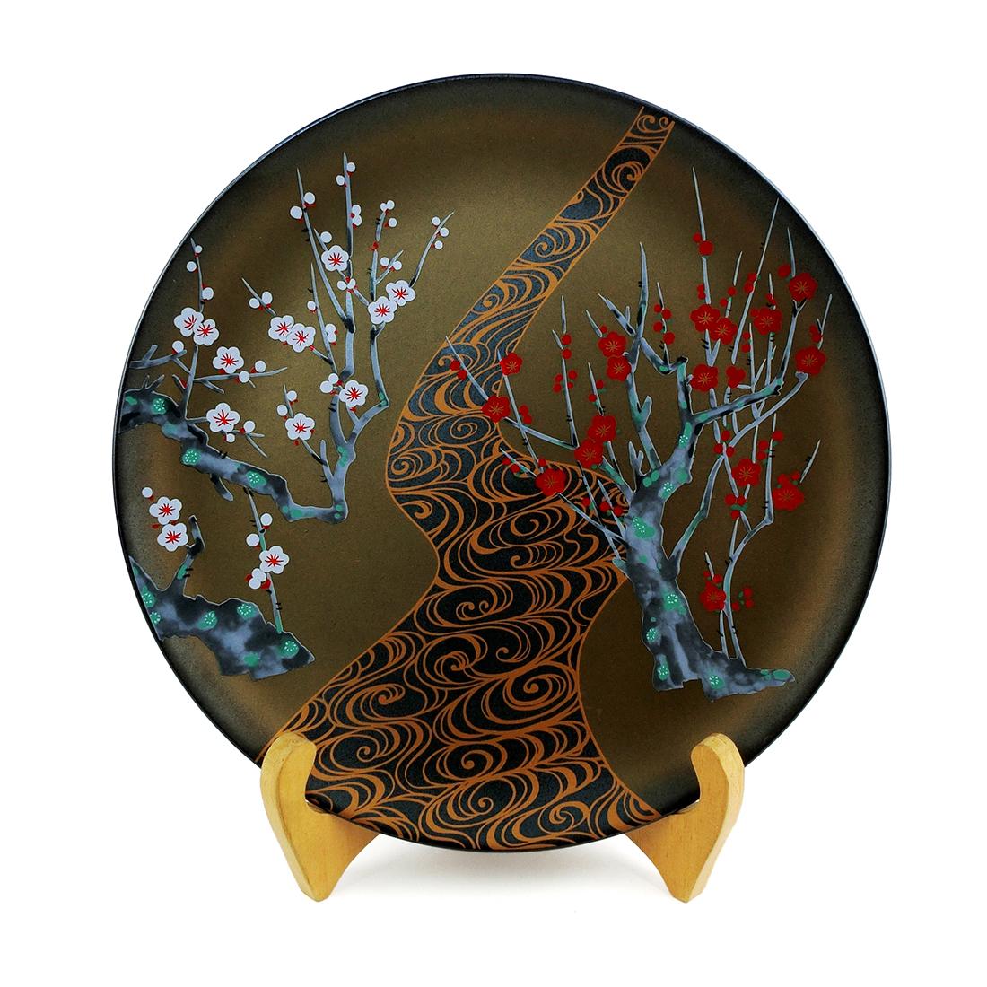 Dĩa Sứ Hoa Đào Men Đen Vẽ Vàng Có Triện - Nhật - 26.5 cm - 531071