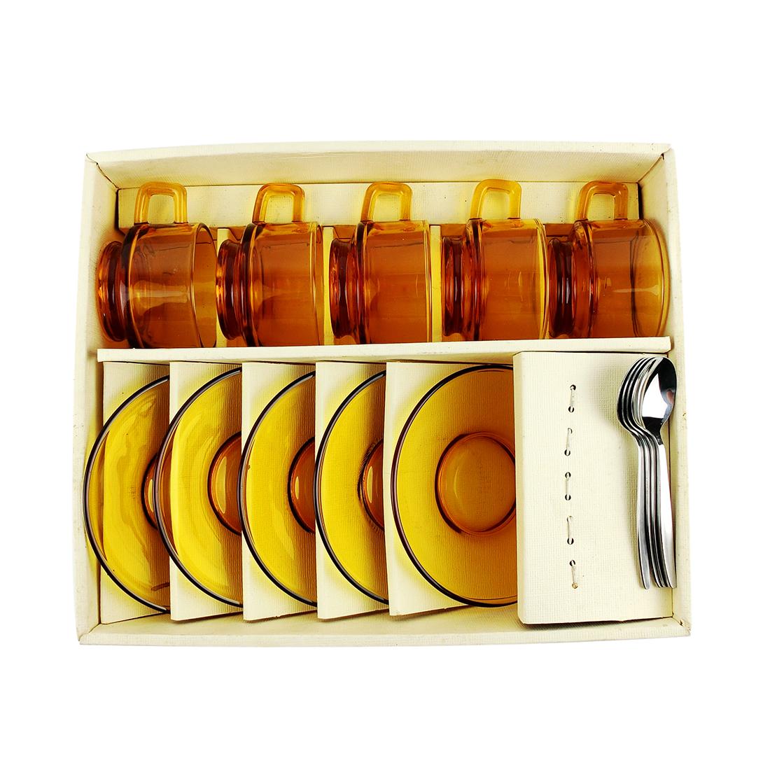 Hộp 5 Set Trà Thủy Tinh Kèm Muỗng Inox - Nhật - 471088