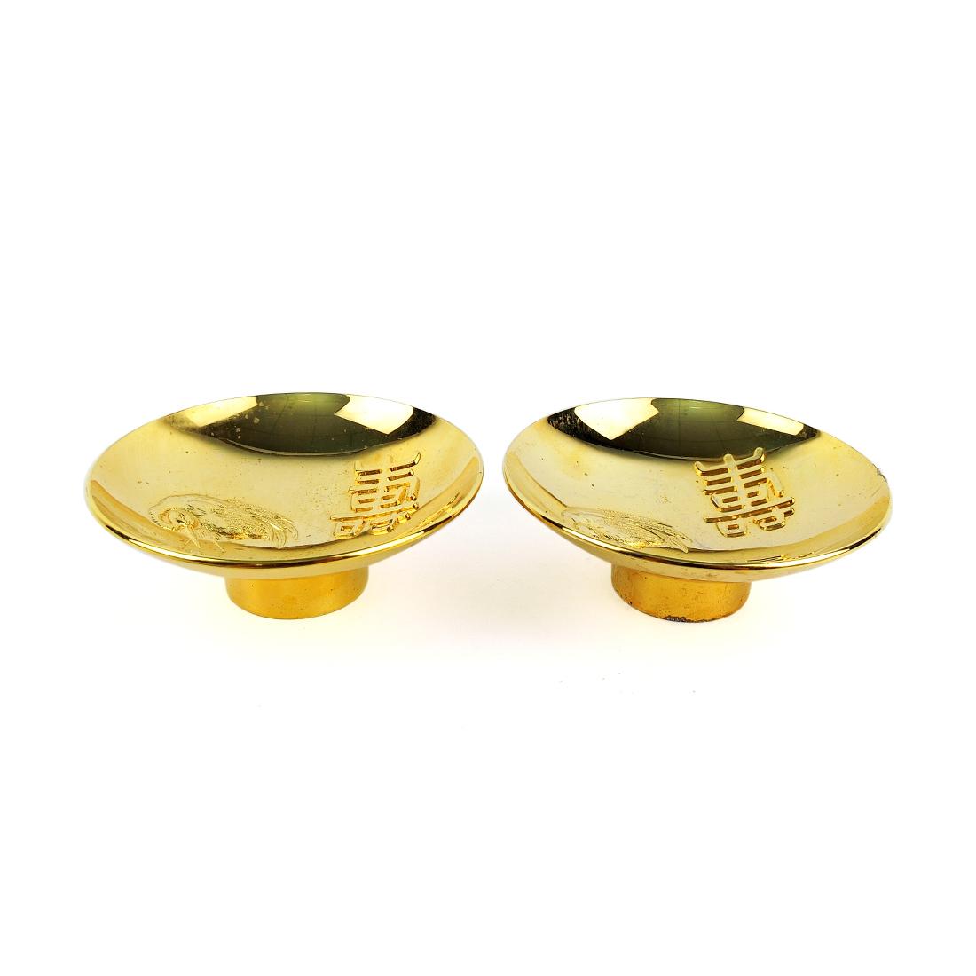 Bộ 2 Chung Mạ Vàng 24K Quy Hạc - Nhật - 7.2 x 2.5 cm - 481074