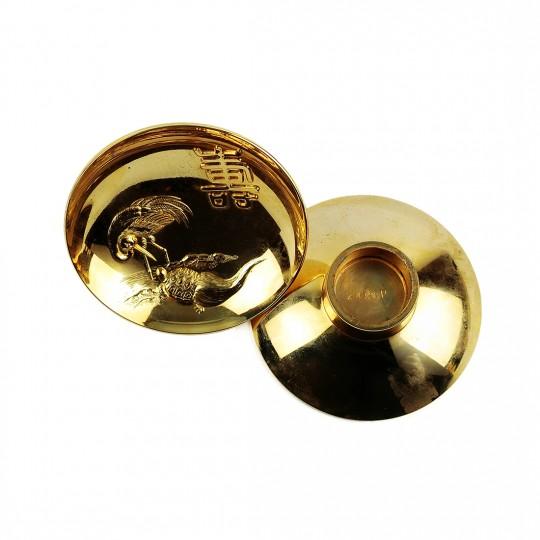 Bộ 2 Chung Mạ Vàng 24K Quy Hạc – Nhật – 7.2 x 2.5 cm – 481074