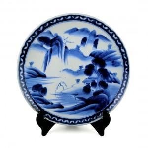 Dĩa Sứ Trưng Men Lam Sơn Thủy Tùng Xưa Vẽ Tay - Nhật - 33.5 x 4.5 cm - 532071