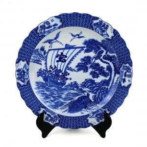Dĩa Gốm Men Lam Qui Tùng Hạc - Nhật - 35 x 3.5 cm - 532072