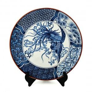 Dĩa Gốm Men Lam Viền Socola Hình Chim Phụng - Nhật - 38 x 3 cm - 532073