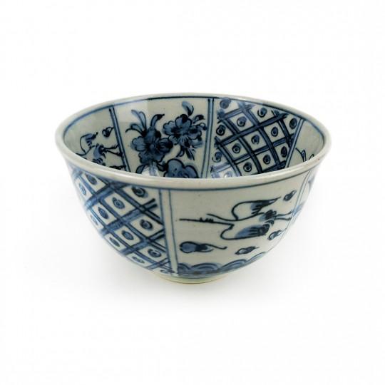 Tô Sứ Men Lam Vẽ Tay Xưa Có Triện – Nhật – 15 x 9 cm – 432117