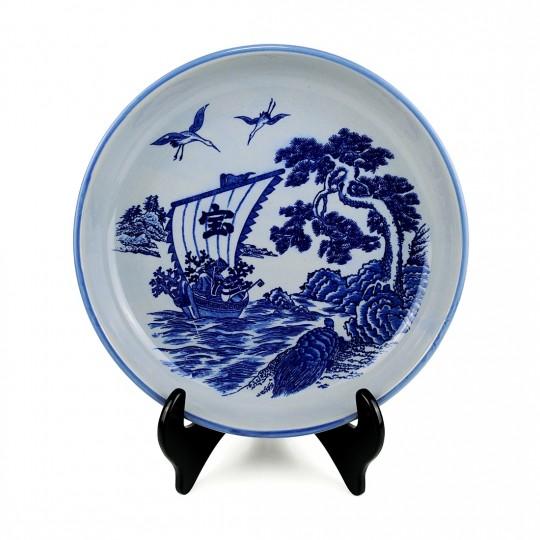 Khay Sứ Dầm Trà Men Lam Qui Tùng Hạc – Nhật – 29 x 5 cm – 532136