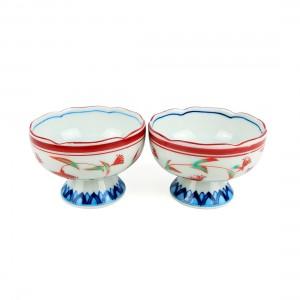 Cặp Chén Chân Cao Men Lam Viền Socola Có Triện - Nhật - 9  x 6.5 cm - 432164