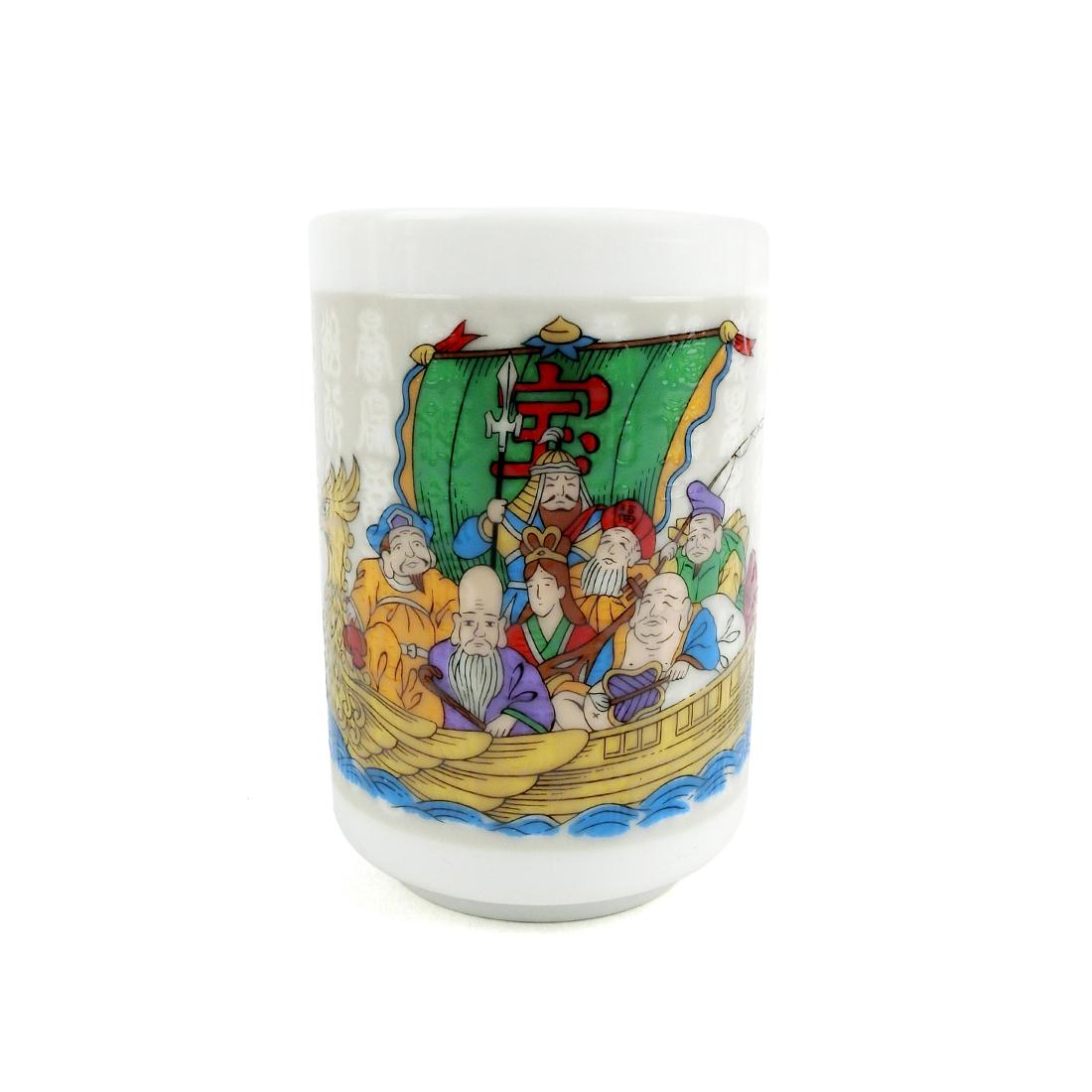 Chung Trà Sứ Chữ Đổi Hình Thất Phúc Thần Ngồi Trên Thuyền - Nhật - 6 x 9 cm - 232221