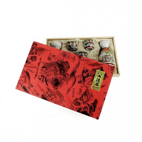 Hộp 2 Bình 5 Chung SaKê Gốm Men Rạn Vẽ Vàng Toen Kutani – Nhật – 482250