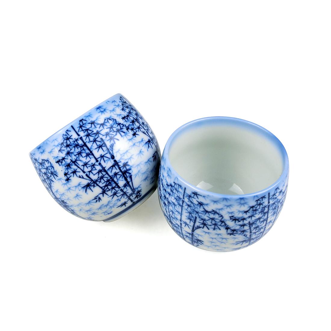 Bộ 6 Chung Sứ Men Lam Cây Trúc - Nhật - 7 x 6 cm - 232737