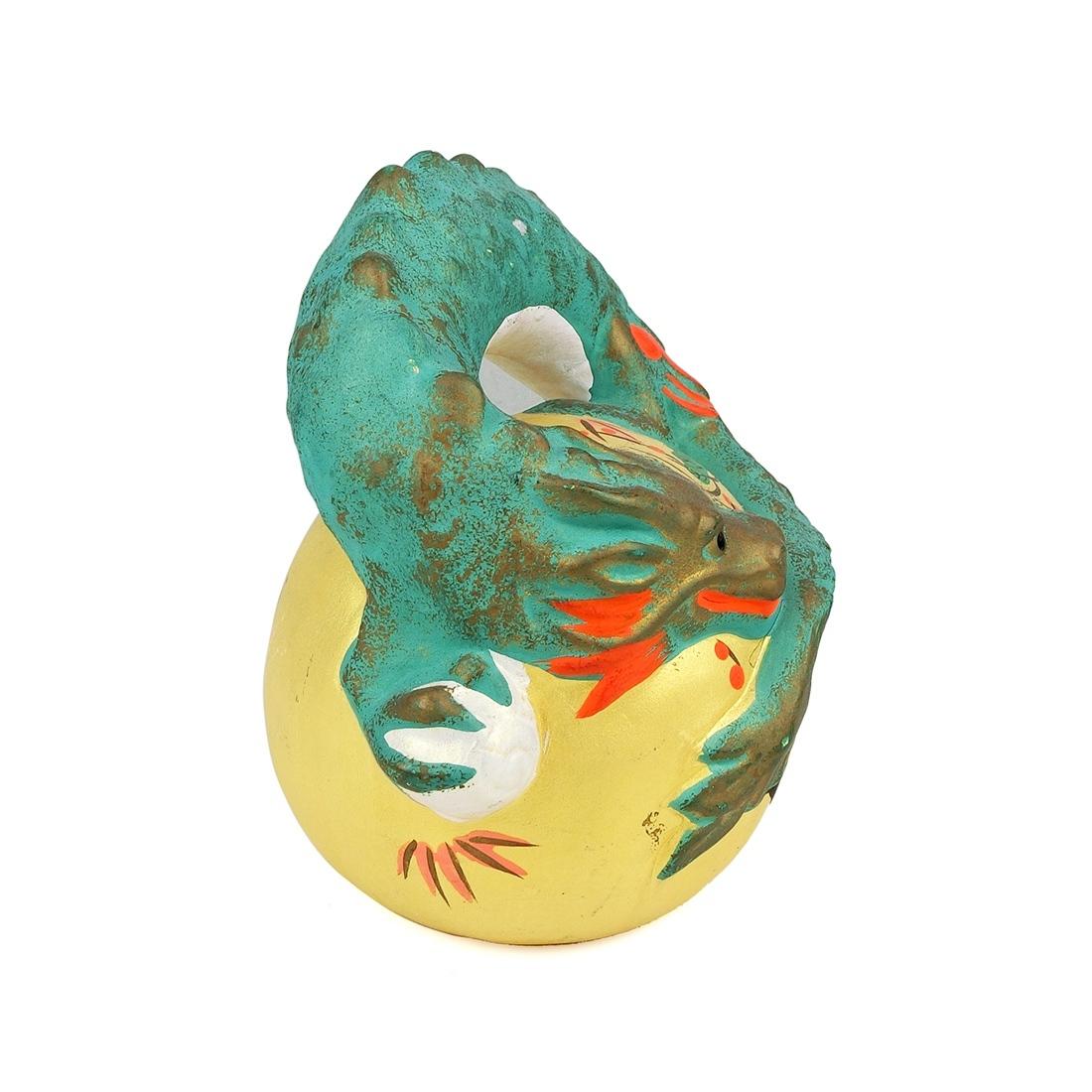Tượng Rồng Gốm Vẽ Tay Vẽ Vàng Có Triện - Nhật - 9 x 12.5 cm - 522720