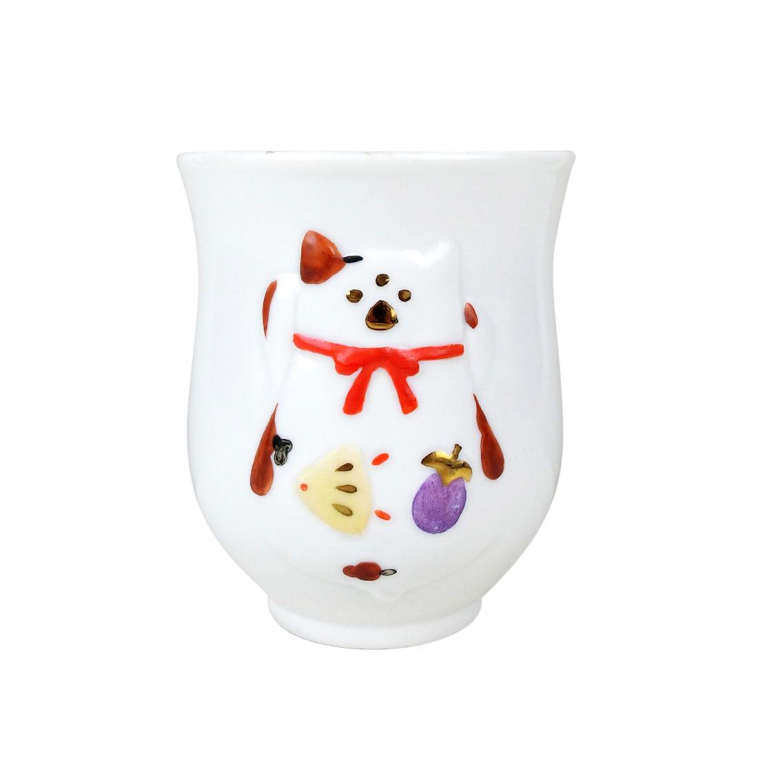 Ly Sứ Mèo Maneki Vẽ Vàng Có Triện - Nhật - 7.5 x 9 cm - 123799