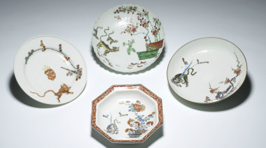 Four Kakiemon style dishes from Japan China Germany and Britain 17th-18th centuries
