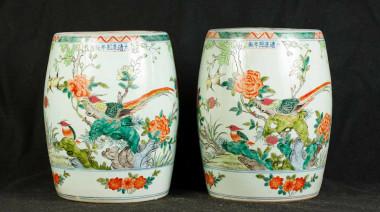 Pair Japanese Kakiemon Porcelain Garden Seats Stools Vases-1370497883-product-50
