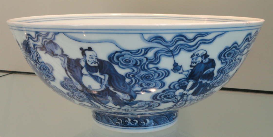 Bowl_with_Eight_Daoist_Immortals_exterior_Yongzheng_mark_1723-1725_Jingdezhen_hard-paste_porcelain_with_underglaze_cobalt_-_Gardiner_Museum_Toronto_-_DSC00725