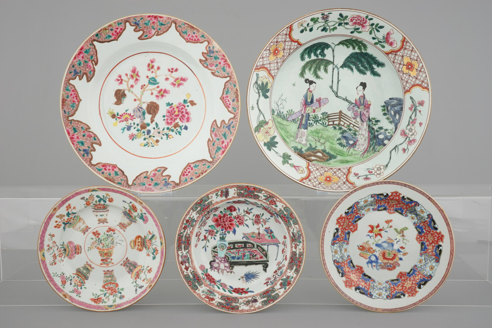 a-set-of-chinese-famille-rose-porcelain-dishes-yongzheng-qianlong-18th-c-and-a-large-samson-figural-dish-19th-c-1